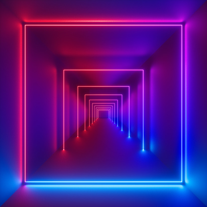 3d render, neon lights, laser show, glowing lines, virtual reality, abstract fluorescent background, optical illusion, cubic room, corridor, night club interior