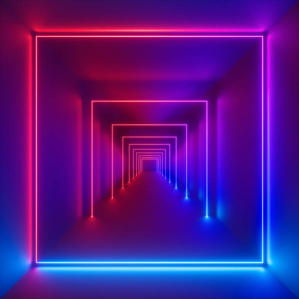 3d render, neon lights, laser show, glowing lines, virtual reality, abstract fluorescent background, optical illusion, cubic room, corridor, night club interior stock photo