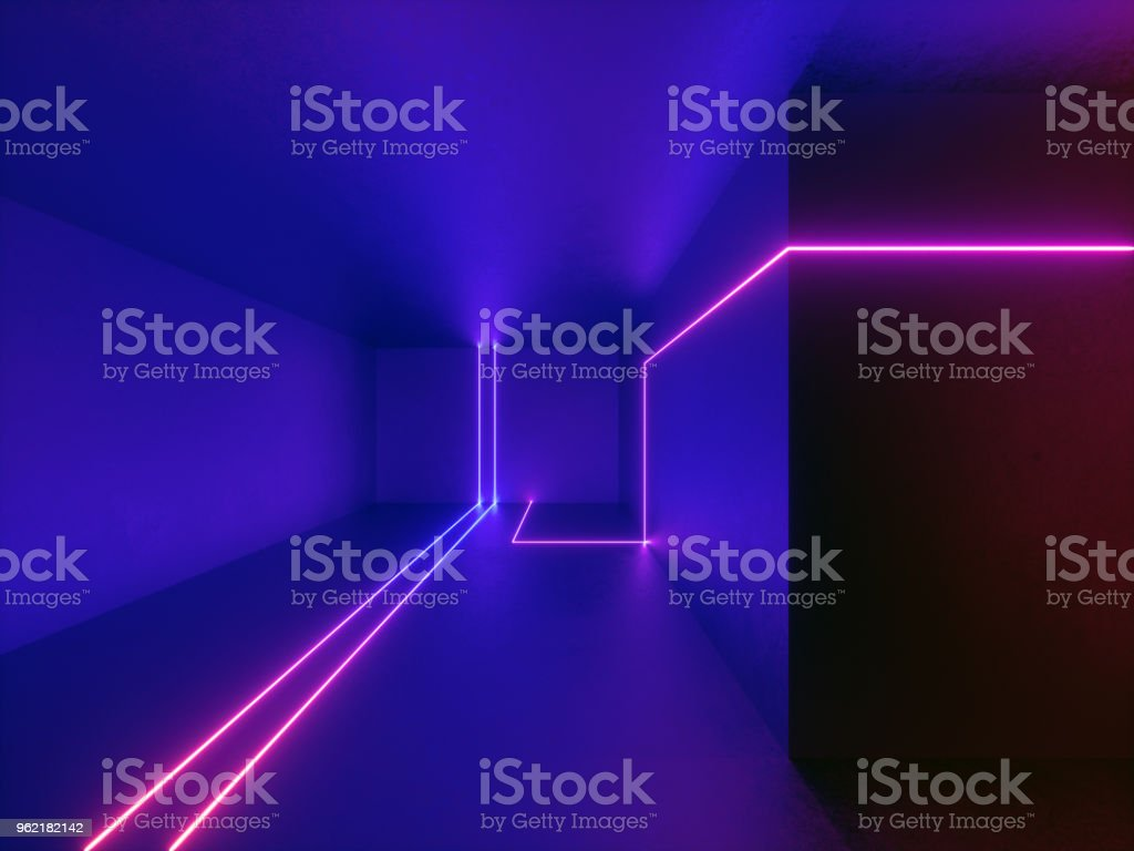 3d Render Neon Lights Room Indoor Virtual Reality Glowing