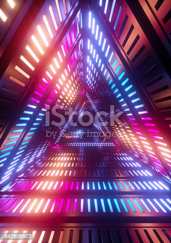 istock 3d render, neon lights, triangle tunnel, abstract geometric background 842808972