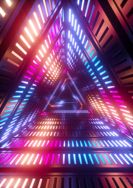 3d render, neon lights, triangle tunnel, abstract geometric background stock photo