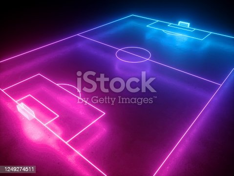 3d render, neon soccer field perspective angle view, football playground, virtual sportive game, pink blue glowing line