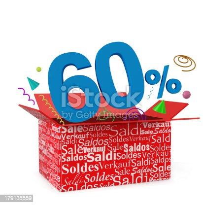 istock 3d render of 60 percent in surprise box 179135559