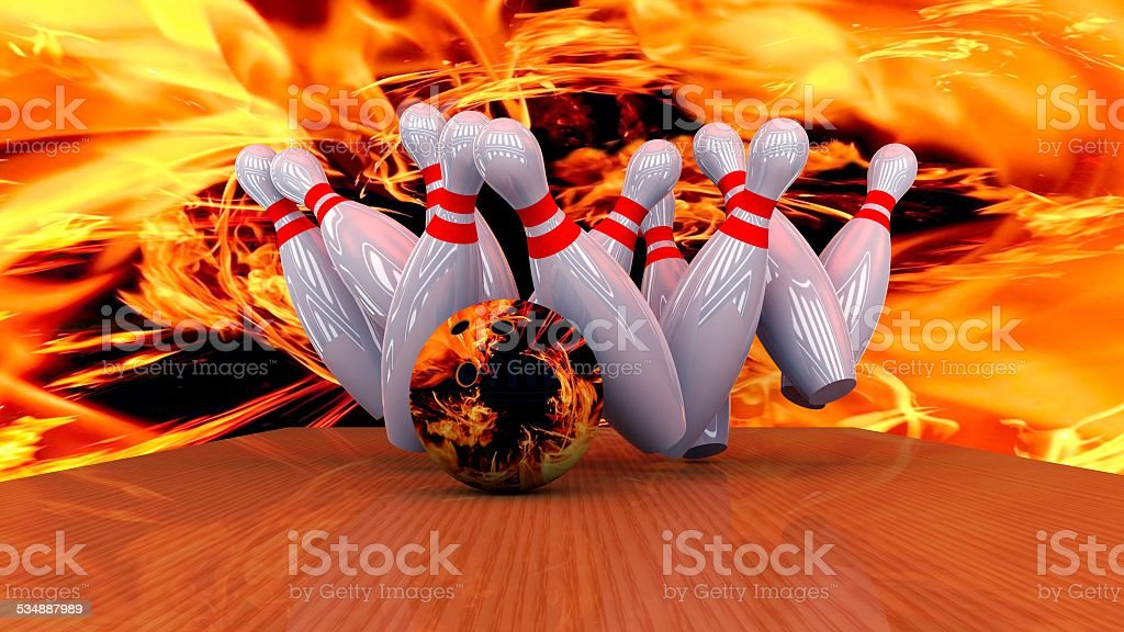 3d render of a bowling ball crashing into the pins, abstract image