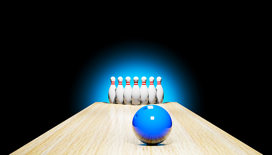 3d render of a bowling with skittles and a blue ball.Digital image illustration.