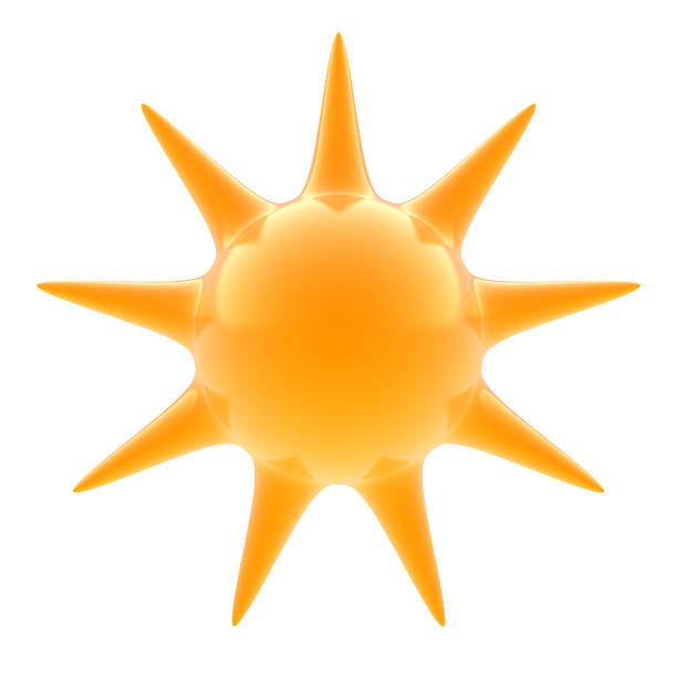 A 3d render of a glass sun on a white background stock photo