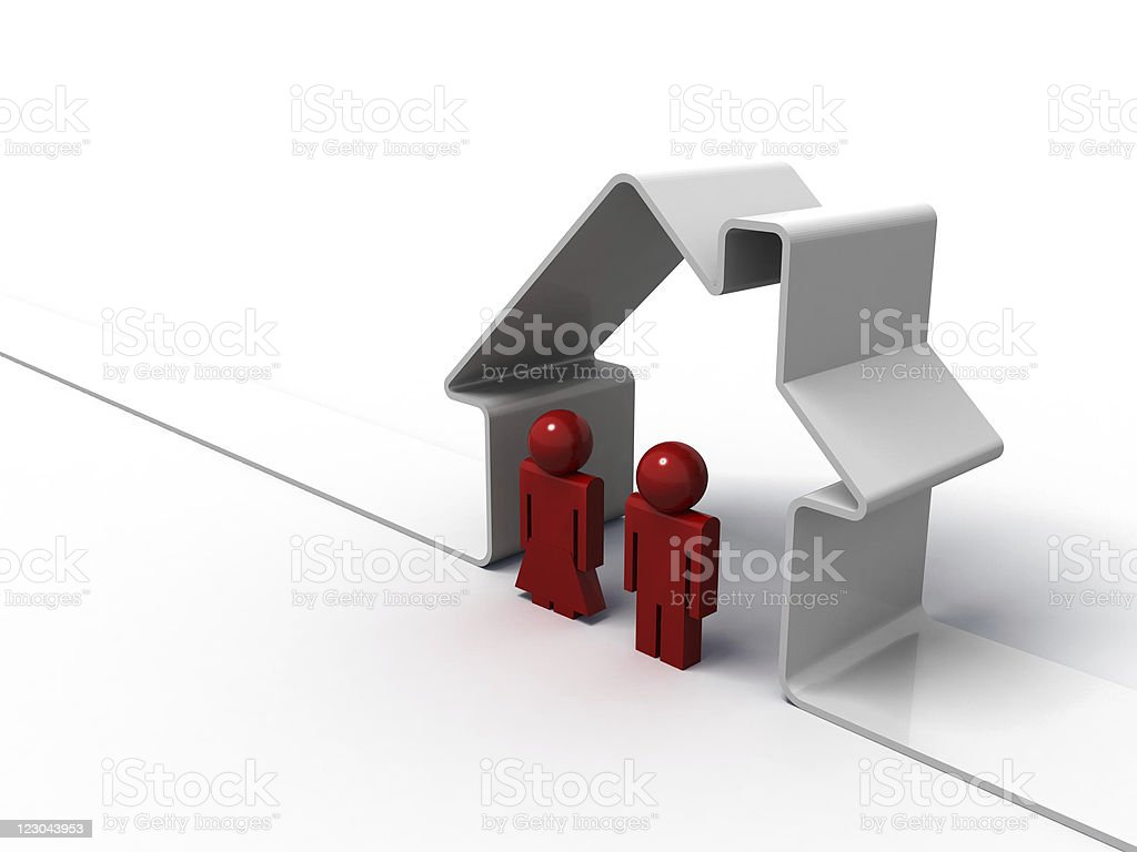 3d render of a house symbol and two people royalty-free stock photo