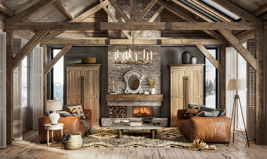 Beautiful interior of a living room in winter cottage. Digitally generated image of luxurious living room in modern style with sofas by the fireplace in the log house.