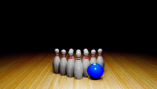 3d render of a set of bowling skittles and ball.Digital image illustration.