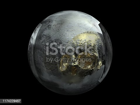 istock 3d render of abstract ball with wavy lines pattern and gold skull inside on black background 1174229457