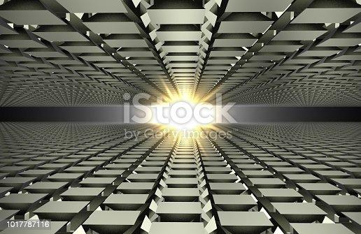 istock 3d render of abstract floor in mirror on gray 1017787116