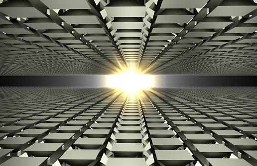602331300 istock photo 3d render of abstract floor in mirror on gray 1017787116