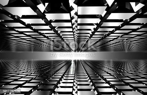 istock 3d render of abstract floor on gray. mirror concept 1017787126