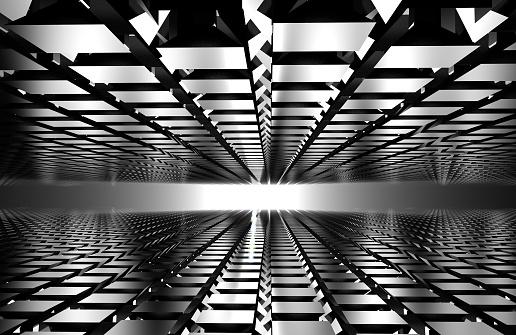 602331300 istock photo 3d render of abstract floor on gray. mirror concept 1017787126