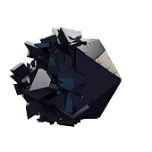 3d render of abstract geometric exploding shape. The object had a shiny black texture and appears to be breaking apart.