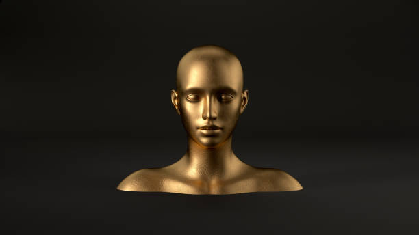 3d render of abstract mannequin female head on black background. Fashion woman. Gold human face. stock photo