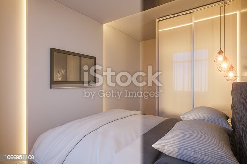 988616560 istock photo 3d render of an interior design of a white minimalist bedroom. Scandinavian interior design style. 1066951100