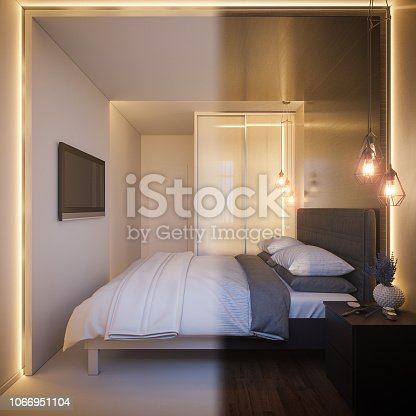 988616560 istock photo 3d render of an interior design of a white minimalist bedroom. Scandinavian interior design style. 1066951104