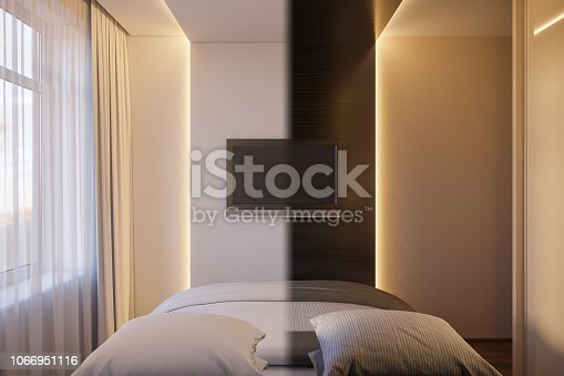 988616560 istock photo 3d render of an interior design of a white minimalist bedroom. Scandinavian interior design style. 1066951116