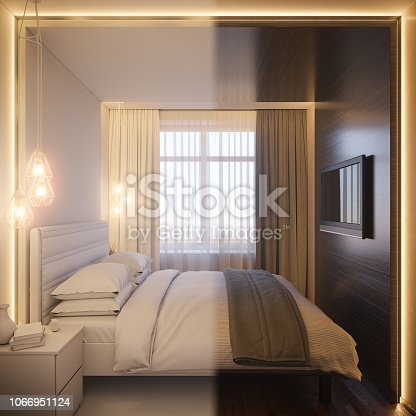 988616560 istock photo 3d render of an interior design of a white minimalist bedroom. Scandinavian interior design style. 1066951124