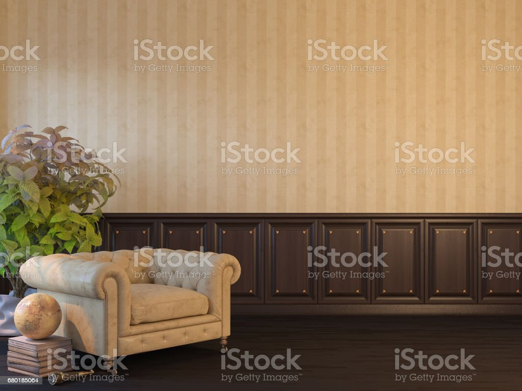 3d render of an interior mock up with a poster stock photo