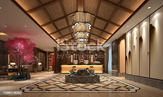 3d render of asian style hotel lobby reception