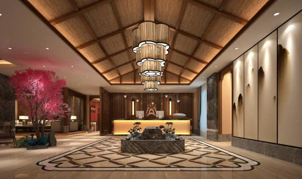 asya tarzı otel lobi saatleri 3d render - hotel reception stok fotoğraflar ve resimler