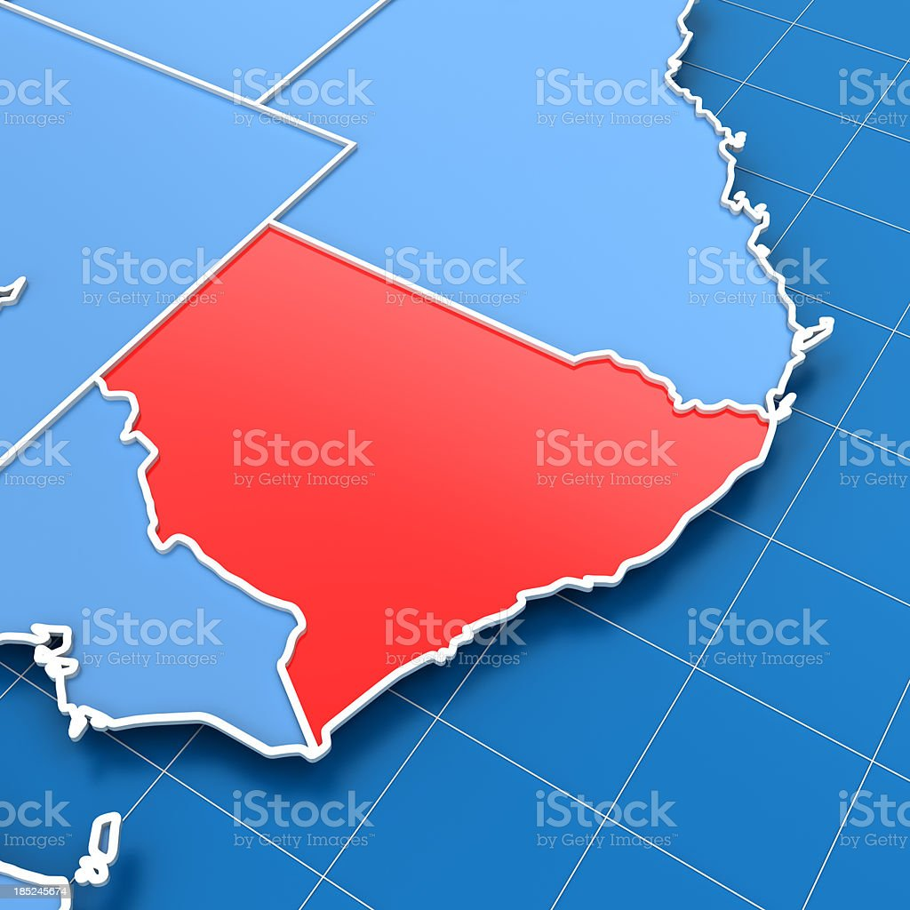 3d render of Australia map with New South Wales highlighted stock photo