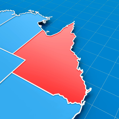 istock 3d render of Australia map with Queensland highlighted 185291621