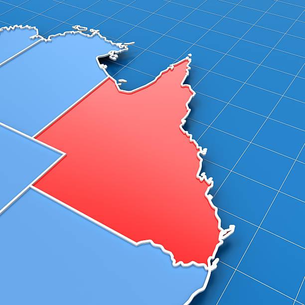 rendering 3d della mappa di australia con queensland evidenziato - queensland foto e immagini stock