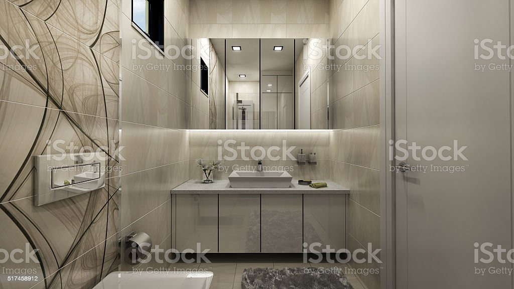 3d render of bathroom stock photo