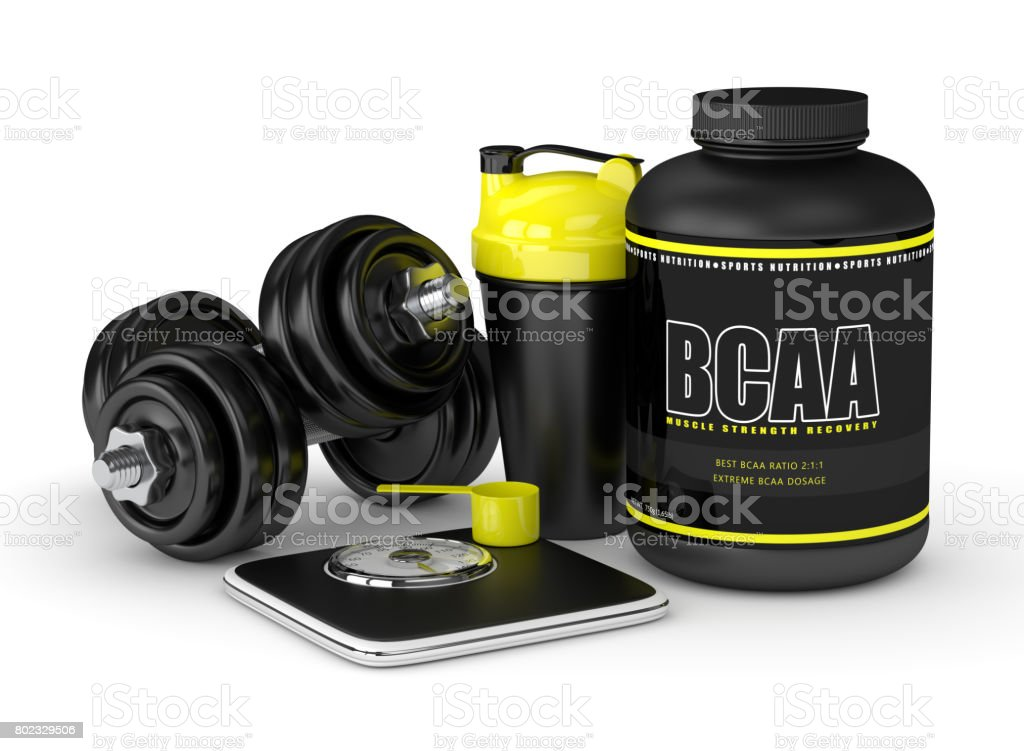 3d render of BCAA powder with dumbbells, scale and shaker stock photo