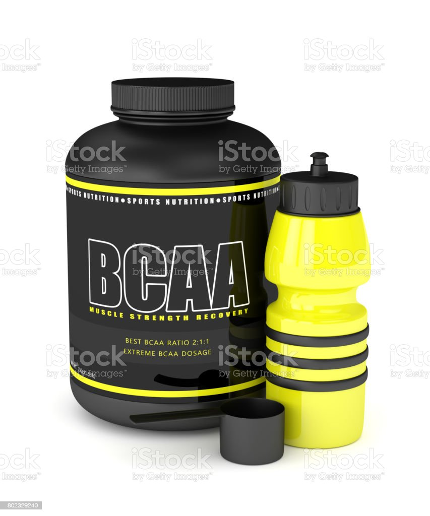 3d render of BCAA powder with water bottle stock photo