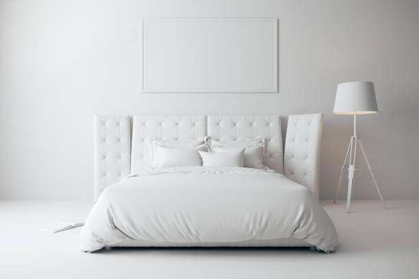 3d render van mooie slaapkamer, industriële stijl - sleeping illustration stockfoto's en -beelden