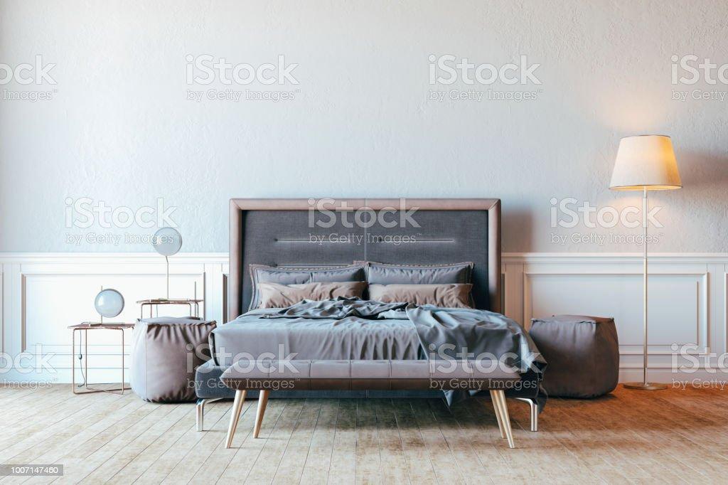 3d Render Schöne Schlafzimmer Innere Einrichtung Stockfoto ...