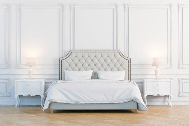 3d render des schönen schlafzimmer - schick moderne schlafzimmer stock-fotos und bilder