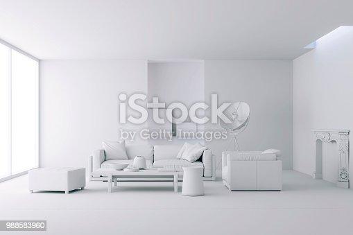 istock 3d render of beautiful clean interior 988583960