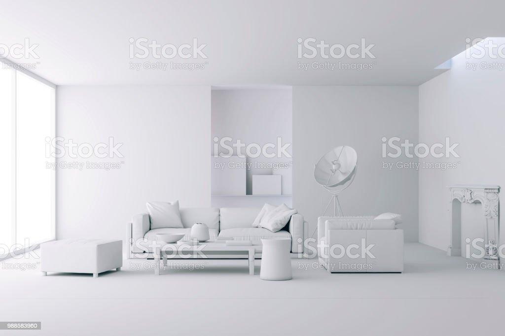 3D render van mooi schoon interieur foto