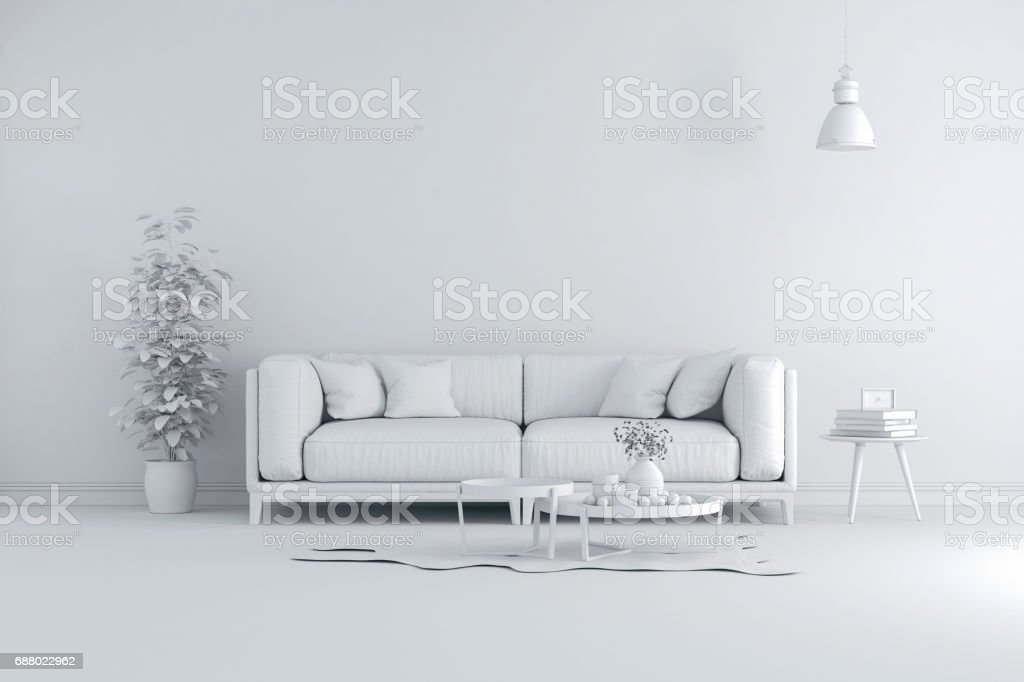 3d render of beautiful clean white interior stock photo