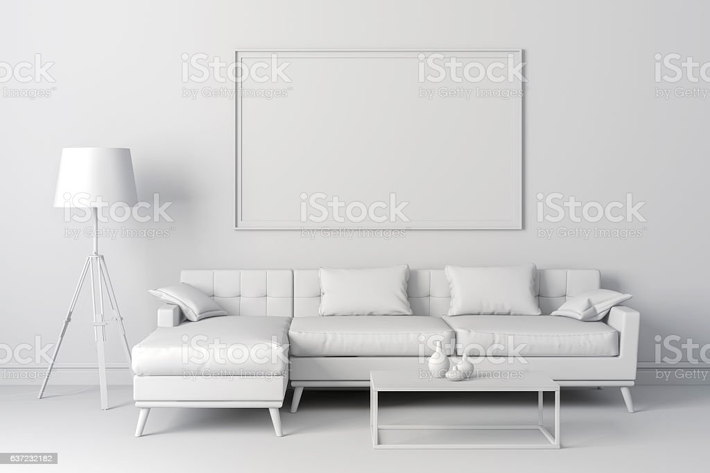 3d render of beautiful interior with couch and floor lamp stock photo