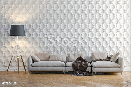 istock 3d render of beautiful interior with couch and floor lamp 637854426