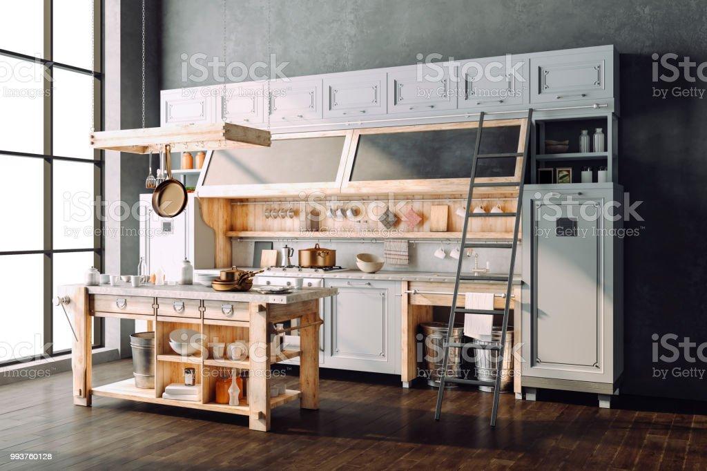 3d Render Schönen Retrostil Küche Stockfoto und mehr Bilder ...