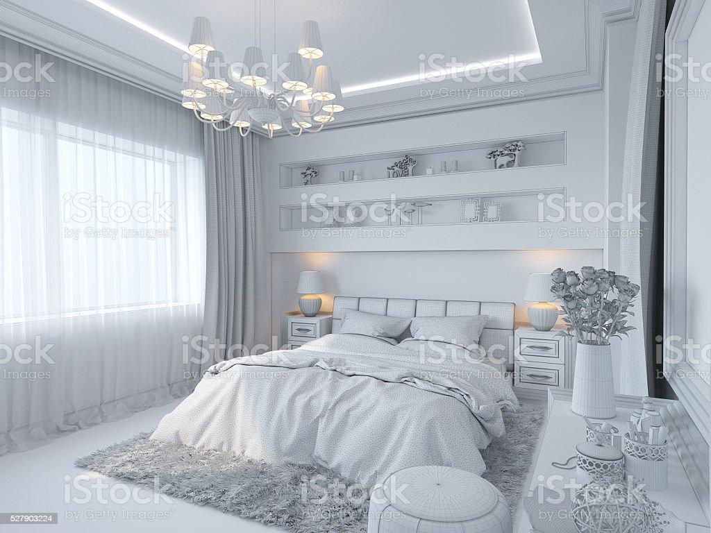 Stili Di Camere Da Letto rendering 3d di interni della camera da letto in stile