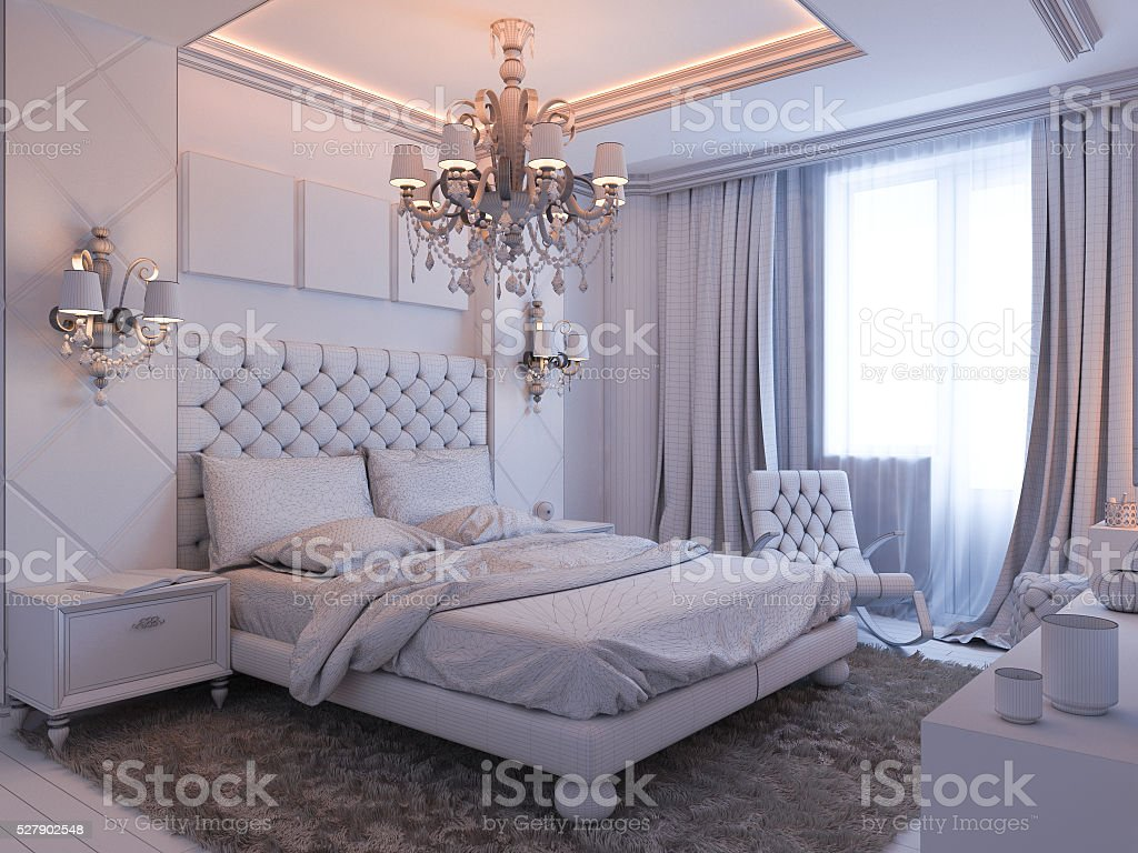 3d render of bedroom interior design stock photo