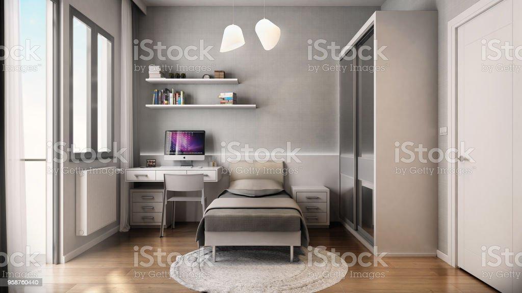 寝室の 3 d レンダリング - 3Dのロイヤリティフリーストックフォト