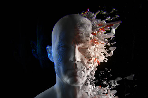 3d render of biohacking concept. At left a young man and old man at the right. Split face. Pills and particles. 3d render of biohacking concept. At left a young man and old man at the right. Split face. Pills and particles. biohacking stock pictures, royalty-free photos & images