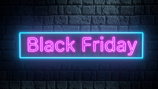 3d render of blue and pink neon sign of Black Friday on brick wall at night. Business banner stock photo