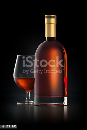 istock 3d render of bottle filled with strong whiskey 841791952