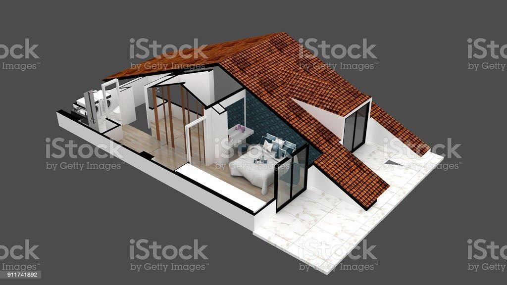rendu 3D de toit de bâtiment - Photo
