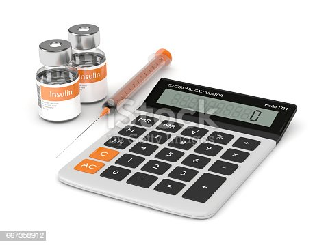 3d render of calculator, syringe, and insulin vials isolated over white background